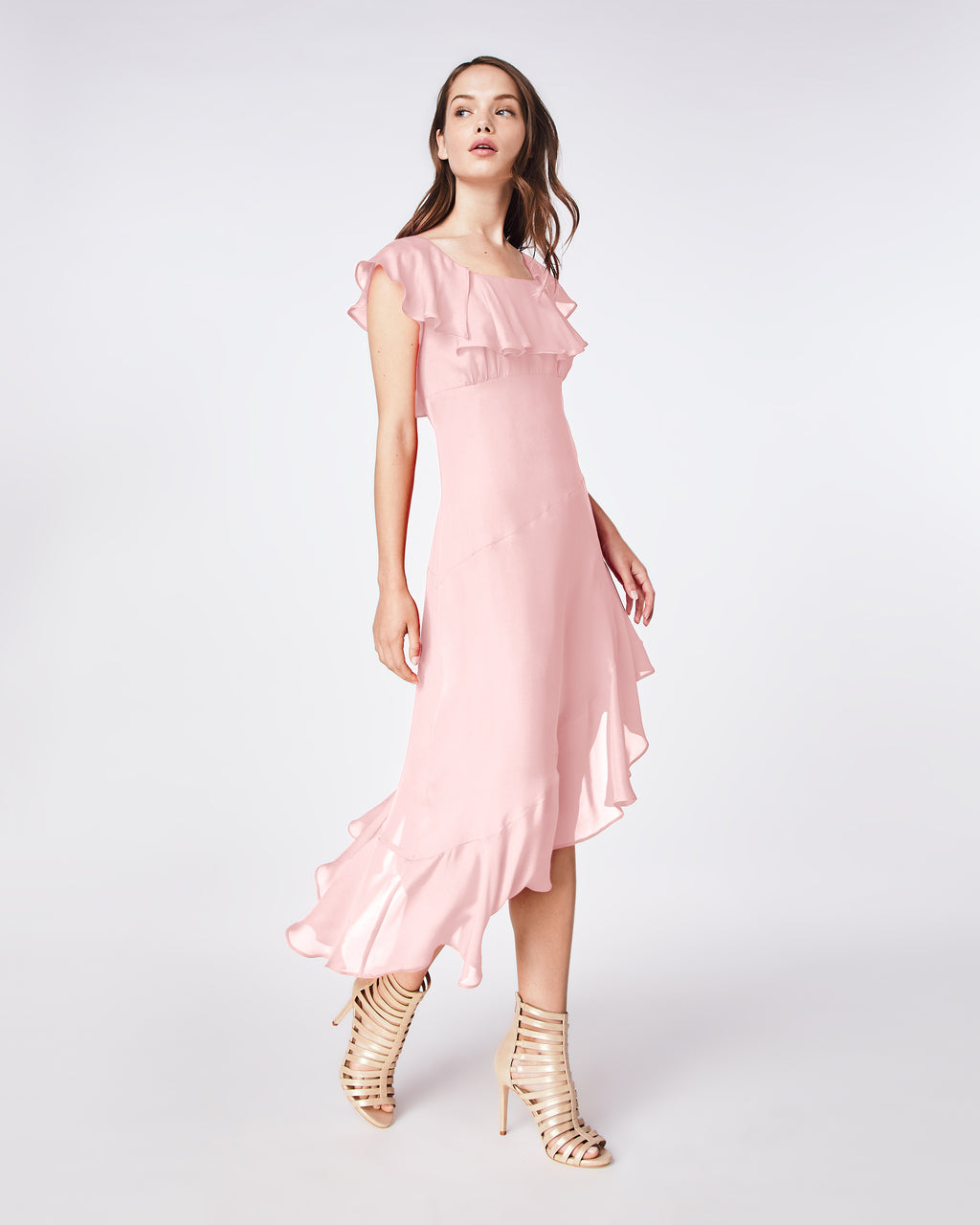 BQ10328 - SOLID SILK BLEND FLUTTER SLEEVE DRESS - dresses - midi - This effortless midi dress offers a fresh update to classic style. In a silk blend, this feminine style features ruffles and a flattering fitted bodice. Pack it for a holiday getaway or layer a sweater over it.