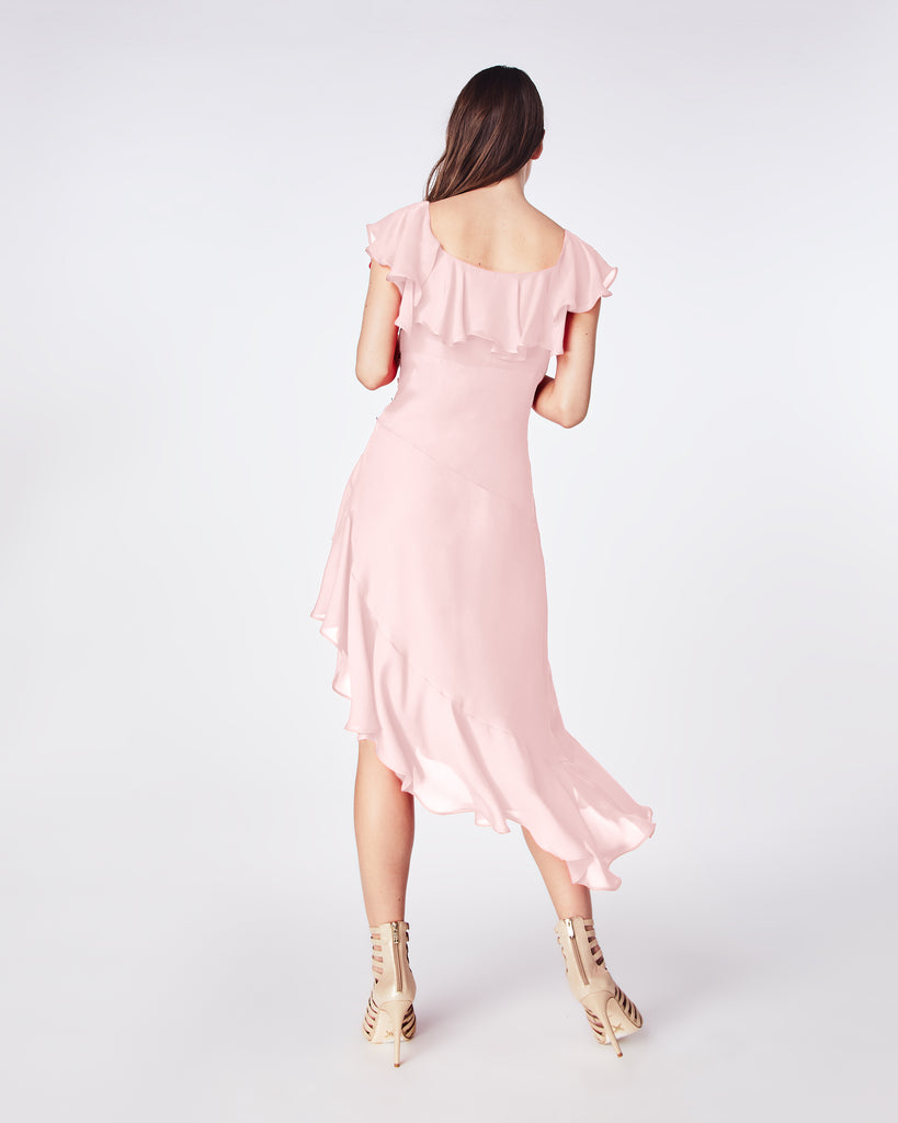 BQ10328 - SOLID SILK BLEND FLUTTER SLEEVE DRESS - dresses - midi - This effortless midi dress offers a fresh update to classic style. A silk blend, this feminine style features ruffles and a flattering fitted bodice. Pack it for a holiday getaway or layer a sweater over it. Alternate View