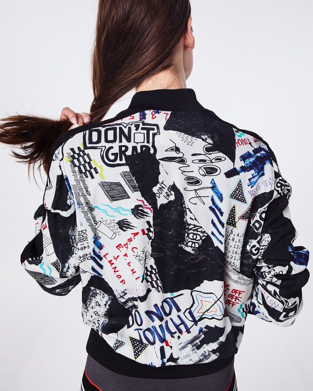 BQ10331 - COLLAGE BOMBER JACKET - outerwear - jackets - A fun take on a classic bomber jacket, this playful graphic collage print features black ribbing along neckline, wrists, and waist gives that sports-luxe look.