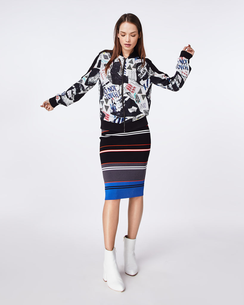 BQ10331 - COLLAGE BOMBER JACKET - outerwear - jackets - A fun take on a classic bomber jacket, this playful graphic collage print features black ribbing along neckline, wrists, and waist gives that sports-luxe look. Alternate View