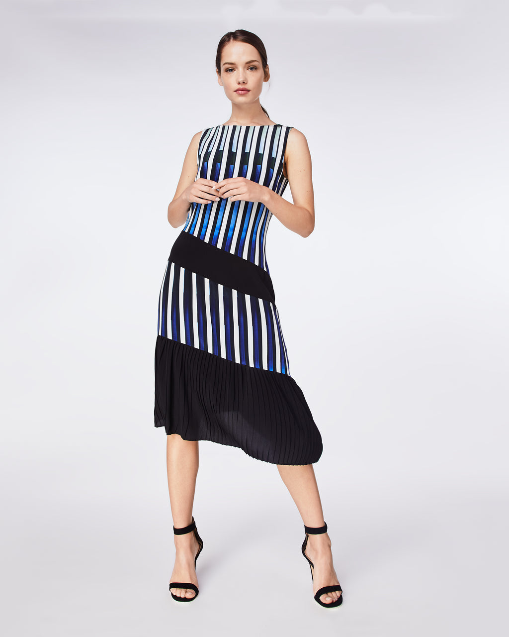 BQ10333 - PIANO KEYS PLEATED DRESS - dresses - midi - Silky and sophisticated, this fit-and-flare dress is elegantly finished with an asymmetrical pleated skirt and fully lined. Throw on a blazer and wear to the office or with black heels for a night out.