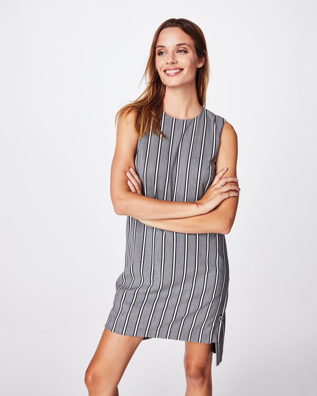 BQ10340 - STRETCH WOVEN STRIPE SHIFT DRESS - dresses - short - Dressy enough for work, but casual enough for the weekend. This stretch woven shift dress is comfortable and a little longer in the back.