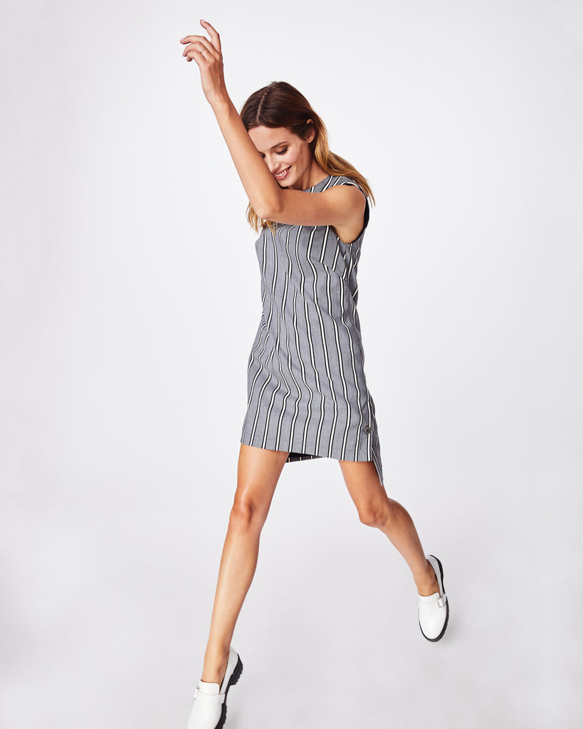 BQ10340 - STRETCH WOVEN STRIPE SHIFT DRESS - dresses - short - Dressy enough for work, but casual enough for the weekend. This stretch woven shift dress is comfortable and a little longer in the back. Alternate View