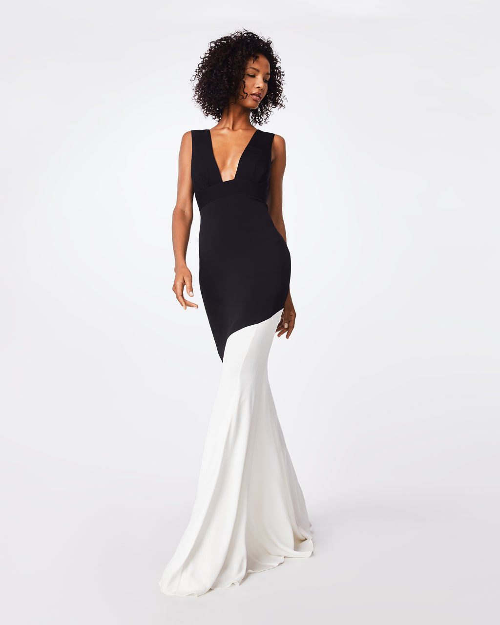 BQ10347 - COLOR BLOCK PLUNGE GOWN - dresses - long - A tasteful body-slimming dress, this v-neck plunge adds a little sexiness. Fully lined with waistband and concealed back zipper with hook and eye.