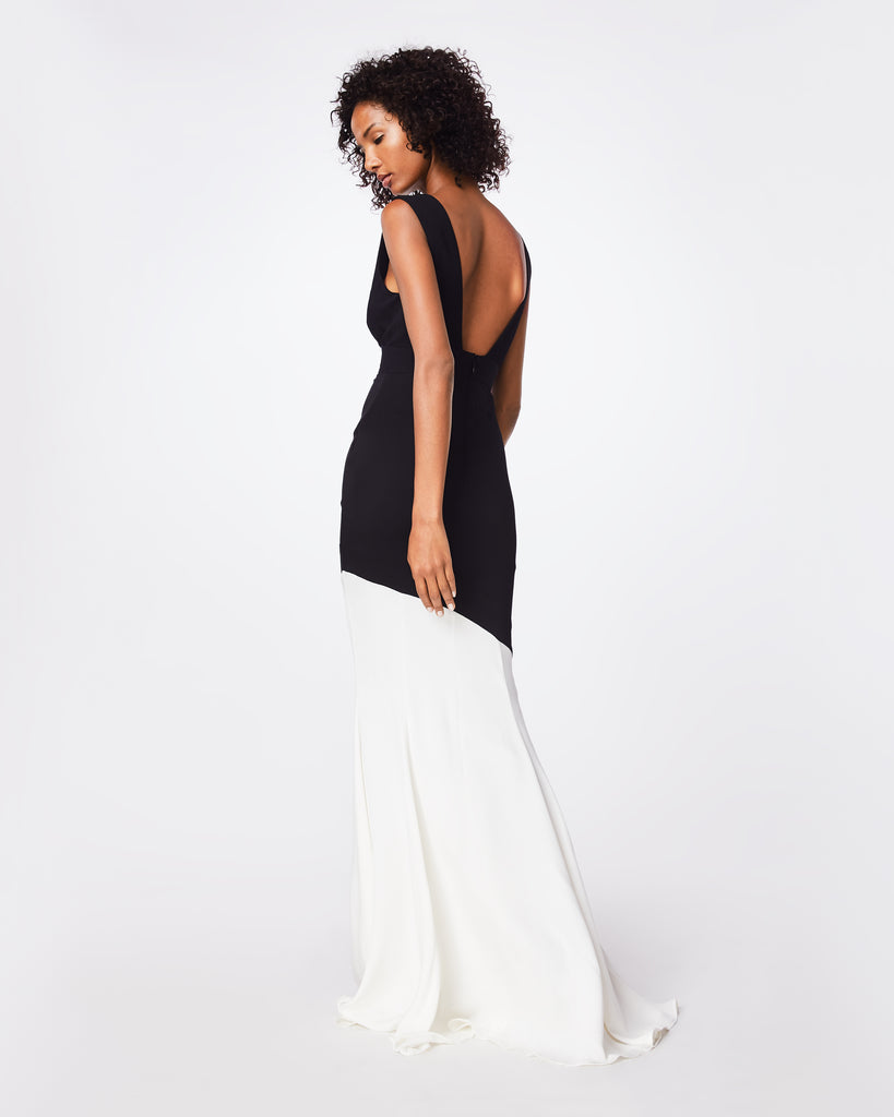 BQ10347 - COLOR BLOCK PLUNGE GOWN - dresses - long - A tasteful body-slimming dress, this v-neck plunge adds a little sexiness. Fully lined with waistband and concealed back zipper with hook and eye. Alternate View