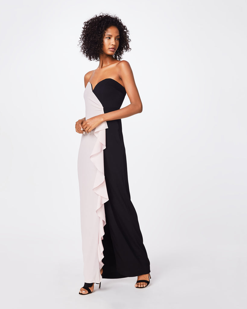 BQ10348 - COLOR BLOCK STRAPLESS RUFFLE GOWN - dresses - long - A sweetheart neckline and ruffle front detail for feminine feel for spring. This dress is fully lined with a back concealed zipper with hook and eye. Alternate View