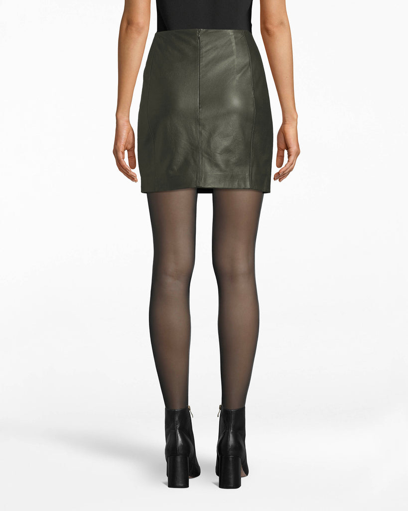 BQ10369 - LEATHER MINI SKIRT - bottoms - skirts - Your fave mini of the season. This leather mini skirt fits accordingly to your waist while showcasing the perfect amount of legs. Style with a black blouse or elevate to a brighter color palette. Exposed back zipper for closure. Alternate View