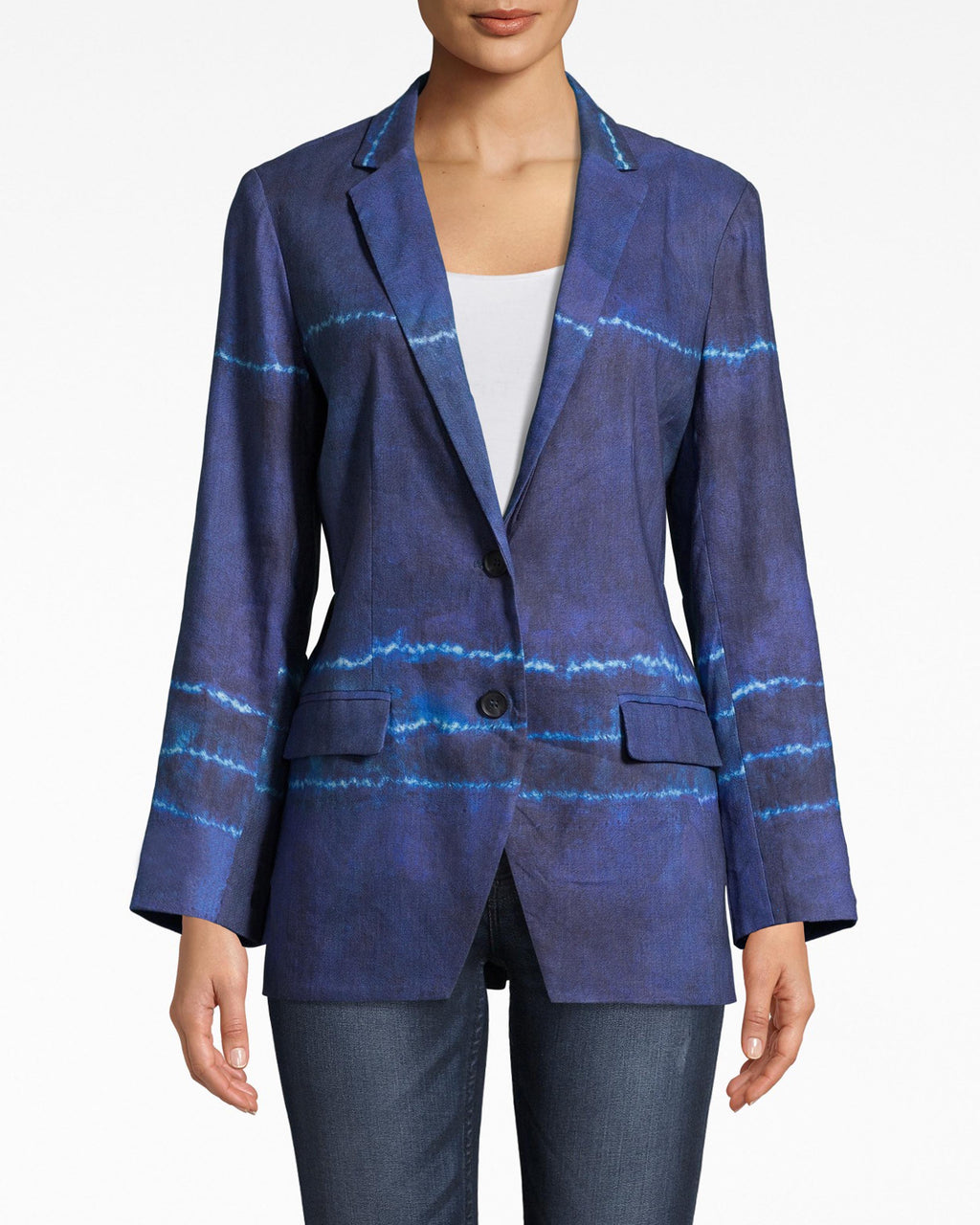 BQ10370 - SHIBORI STRIPE BLAZER - outerwear - blazers - WARMER WEATHER CALLS FOR LIGHTWEIGHT AND EASY PIECES AND THIS BLAZER IS JUST THAT. LAYER OVER A WHITE TEE FOR A CHIC OFFICE OUTFIT OR PAIR WITH THE SHIBORI STRIPED PENCIL SKIRT FOR A WHOLE LOOK.