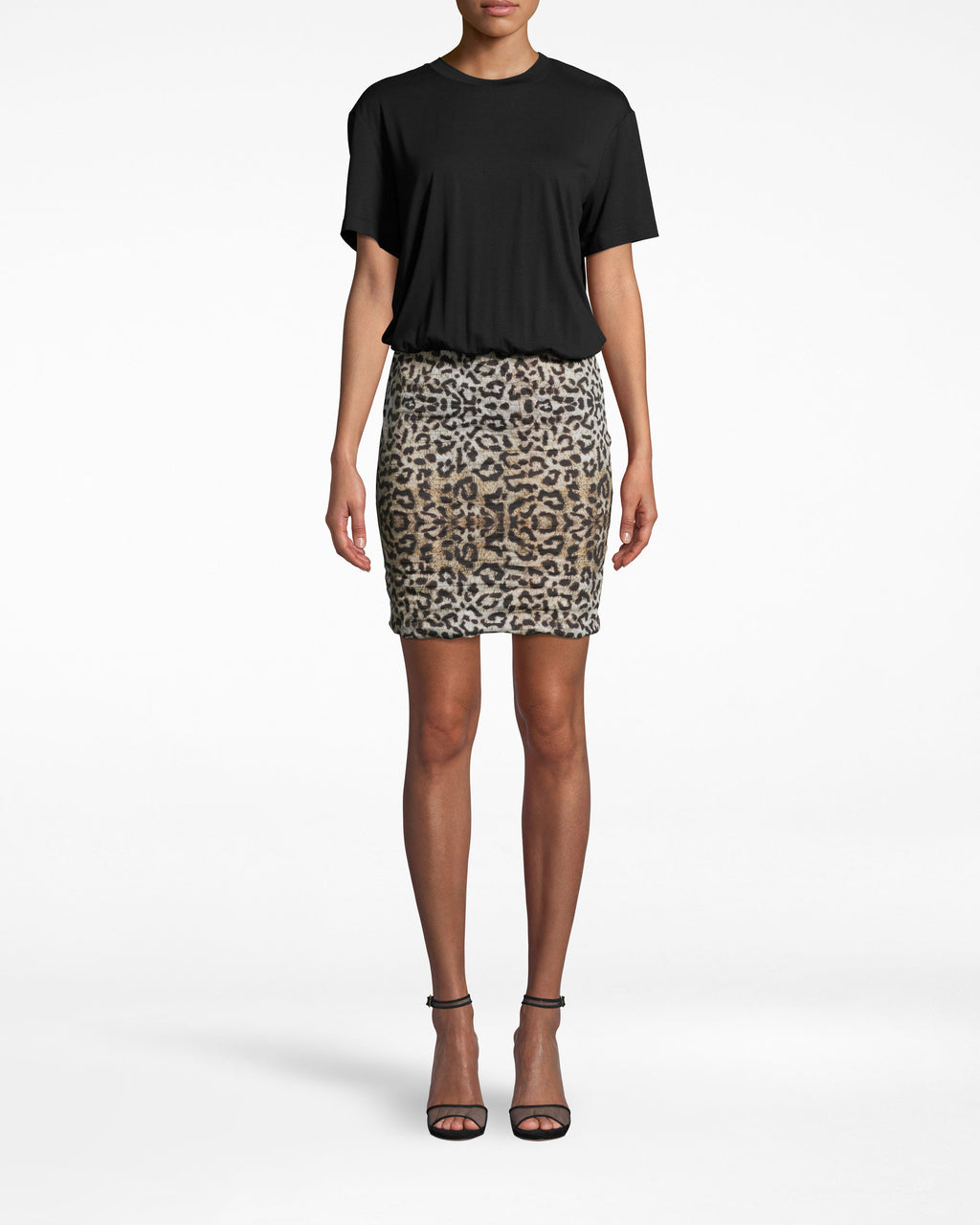 BQ10371 - LEOPARD COMBO SHIRT DRESS - dresses - short - THIS LEOPARD COMBO SHIRT DRESS IS THE ULTIMATE THROW ON AND GO. THE TOP IS A SUPER SOFT T-SHIRT WHILE THE FITTED SKIRT IS MADE FROM OUR SIGNATURE COTTON METAL IN LEOPARD PRINT. DRESS IT UP OR DOWN DEPENDING ON THE OCCASION.