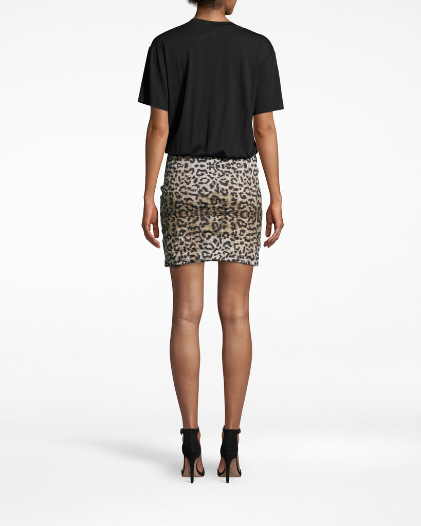 BQ10371 - LEOPARD COMBO SHIRT DRESS - dresses - short - THIS LEOPARD COMBO SHIRT DRESS IS THE ULTIMATE THROW ON AND GO. THE TOP IS A SUPER SOFT T-SHIRT WHILE THE FITTED SKIRT IS MADE FROM OUR SIGNATURE COTTON METAL IN LEOPARD PRINT. DRESS IT UP OR DOWN DEPENDING ON THE OCCASION. Alternate View