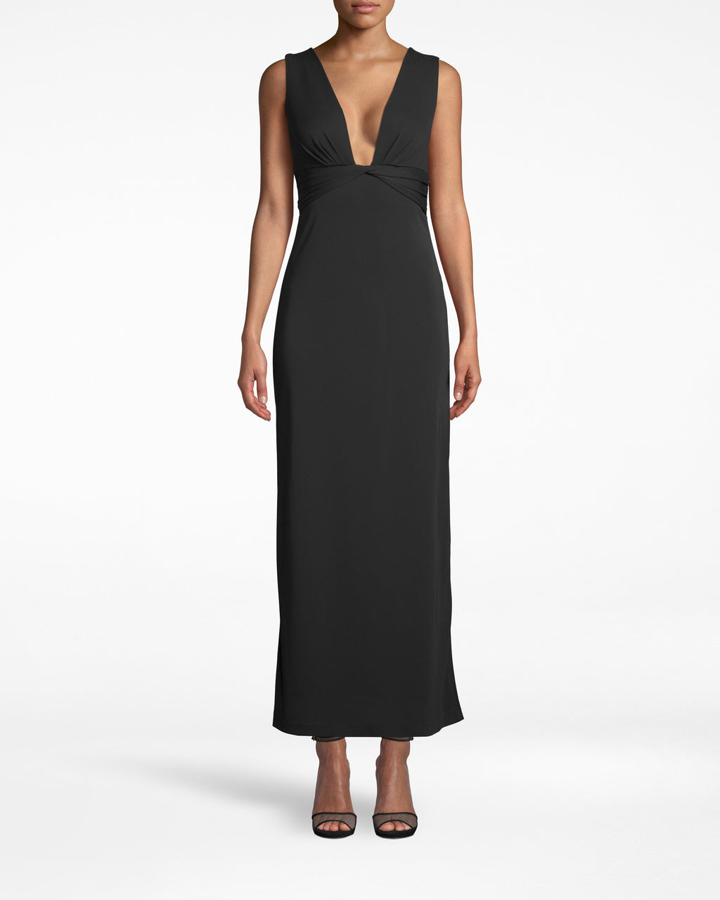 BQ10375 - STRETCHY MATTE JERSEY PLUNGE GOWN - dresses - long - ELEGANT EVENING REQUIRED. FEATURING A PLUNGING NECKLINE AND ANKLE SKIMMING HEMLINE SO YOU CAN SHOW OFF YOUR FAVORITE HEELS. PAIR WITH SPARKLY ACCESSORIES.