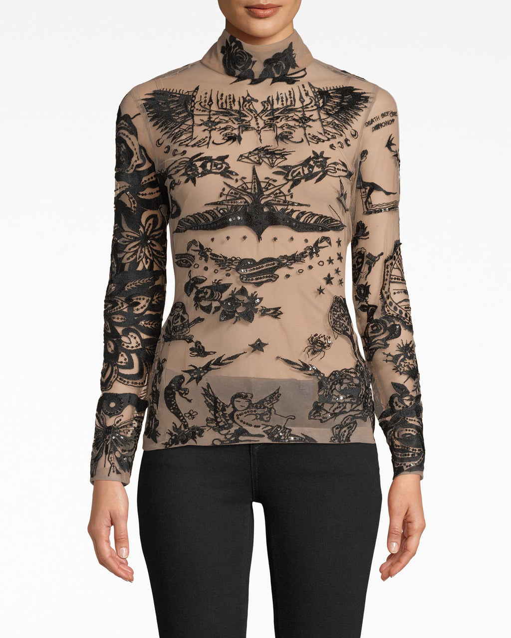 BQ20078 - TATTOO MESH LONG SLEEVE TURTLENECK TOP - tops - blouses - Tatted up. Our Tattoo Mesh long sleeve top fits snugly to your frame while achieving that turtleneck chic effect. Embellishments may vary to style.