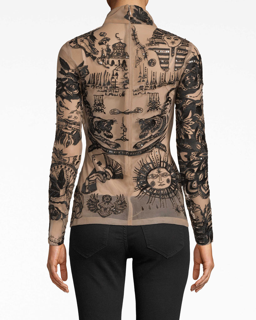 BQ20078 - TATTOO MESH LONG SLEEVE TURTLENECK TOP - tops - blouses - Tatted up. Our Tattoo Mesh long sleeve top fits snugly to your frame while achieving that turtleneck chic effect. Embellishments may vary to style. Alternate View