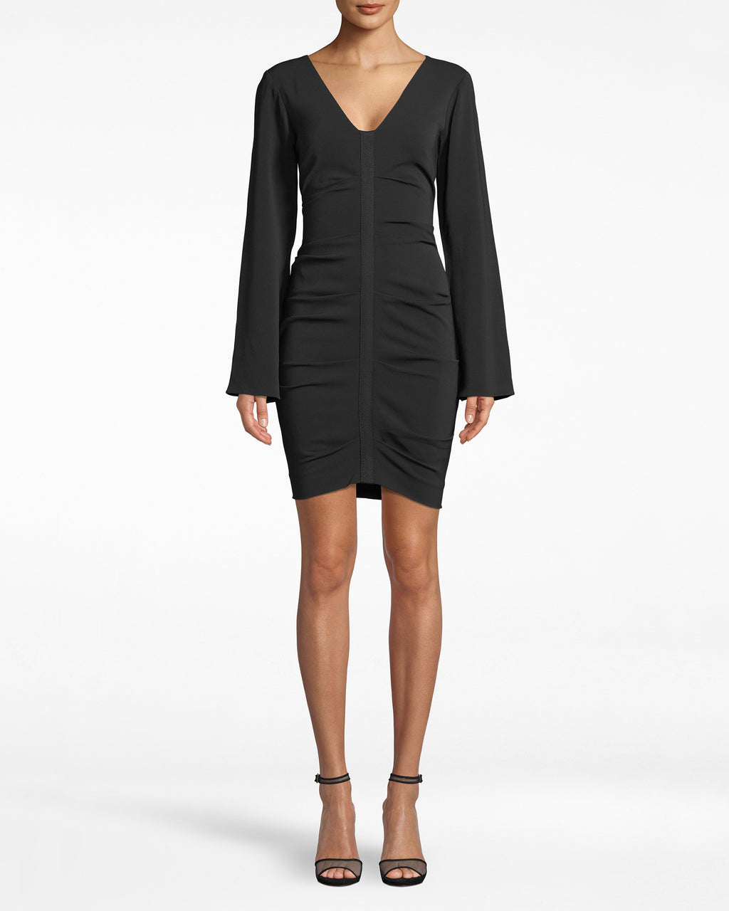 BQ20146 - BELL SLEEVE DRESS - dresses - short - A FRESH TAKE ON A LBD. THE BELL SLEEVES AND AN OPEN BACK ELEVATE THIS ESSENTIAL TO THE NEXT LEVEL. THE BACK IS CINCHED WITH LONG SILKY TIES AND HAS THOUGHTFUL RUCHING ALONG THE ZIPPER CLOSURE.