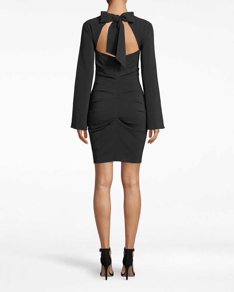 BQ20146 - BELL SLEEVE DRESS - dresses - short - A FRESH TAKE ON A LBD. THE BELL SLEEVES AND AN OPEN BACK ELEVATE THIS ESSENTIAL TO THE NEXT LEVEL. THE BACK IS CINCHED WITH LONG SILKY TIES AND HAS THOUGHTFUL RUCHING ALONG THE ZIPPER CLOSURE. Alternate View