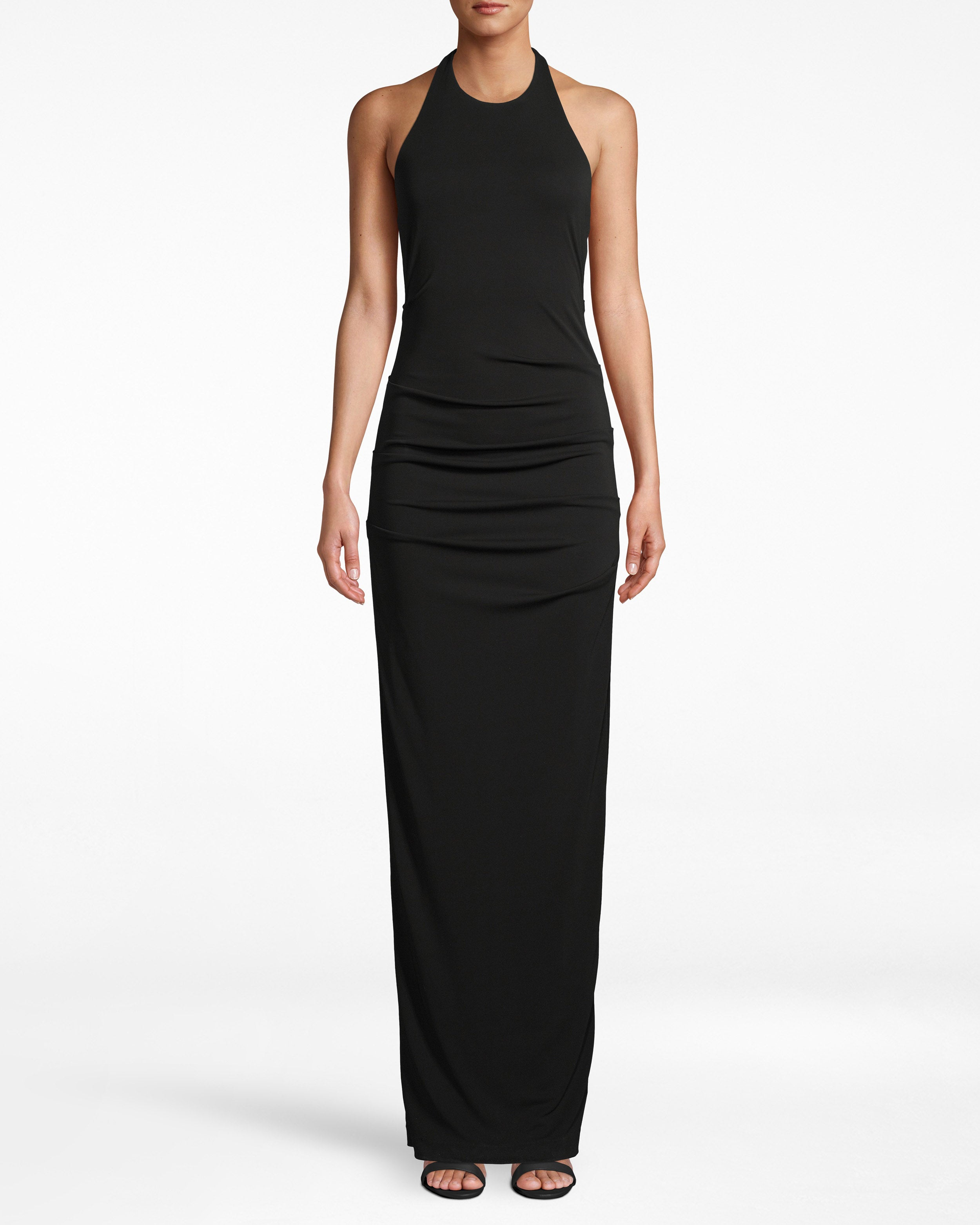 nicole miller stretchy matte jersey adel gown in black | polyester/spandex/acetate | size 0