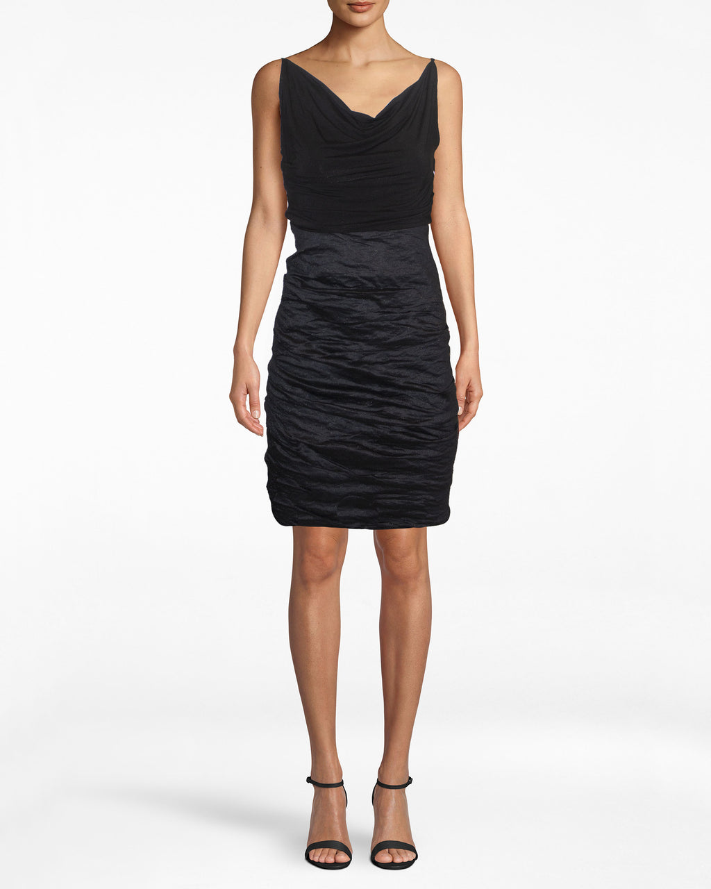 BS10181 - JERSEY AND COTTO METAL COMBO COWL NECK DRESS - dresses - short - The black dress is here to stay. This Cotton Metal stunner is sexy enough for a city night. Pair with a blazer, and you now have your office uniform. Exposed back zipper for closure.