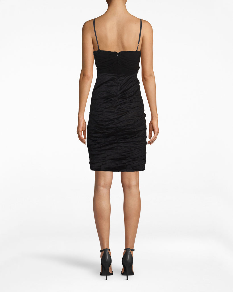 BS10181 - JERSEY AND COTTO METAL COMBO COWL NECK DRESS - dresses - short - The black dress is here to stay. This Cotton Metal stunner is sexy enough for a city night. Pair with a blazer, and you now have your office uniform. Exposed back zipper for closure. Alternate View