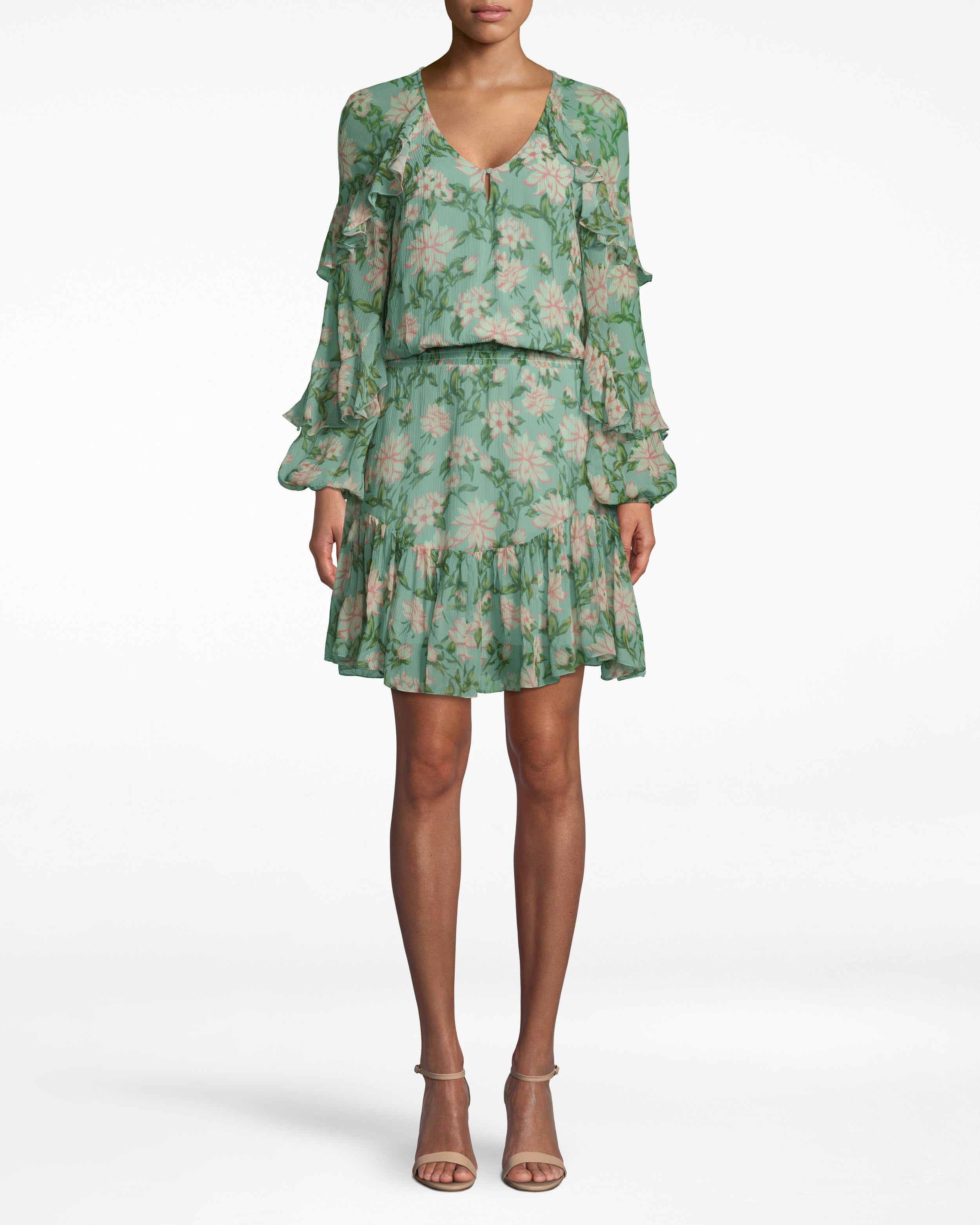 nicole miller spring dream long sleeve ruffle dress in spring dream sage | silk/polyester/spandex | size petite