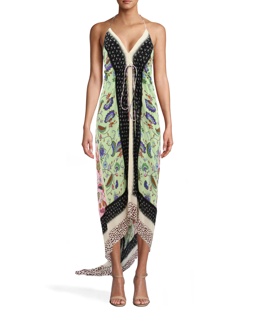 BS10188 - CHABANA SCARF ANGELINA DRESS - dresses - long - DESIGNED IN OUR VIBRANT CHABANA SCARF PRINT, THE ANGELINA DRESS FEATURES A SEXY OPEN BACK AND HIGH LOW HEM. THE LIGHTWEIGHT AND SILKY FABRIC MAKES THIS PIECE PERFECT FOR PARTIES ON HOT SUMMER NIGHTS. THIS DRESS FEATURES A LOOP TO TUCK IN THE TRAIN, PREVENTING IT FROM DRAGGING. Add 1 line break STYLIST TIP: WEAR WITH NEUTRAL HEELS AND SIMPLE JEWELRY.