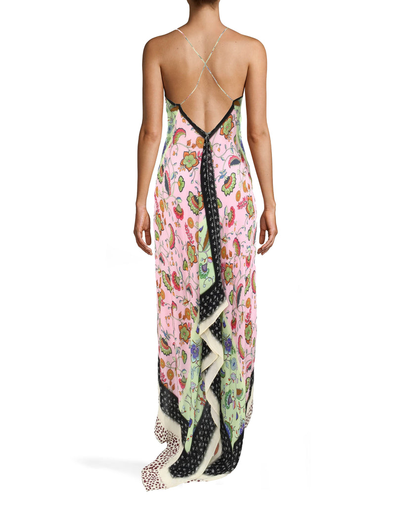 BS10188 - CHABANA SCARF ANGELINA DRESS - dresses - long - DESIGNED IN OUR VIBRANT CHABANA SCARF PRINT, THE ANGELINA DRESS FEATURES A SEXY OPEN BACK AND HIGH LOW HEM. THE LIGHTWEIGHT AND SILKY FABRIC MAKES THIS PIECE PERFECT FOR PARTIES ON HOT SUMMER NIGHTS. THIS DRESS FEATURES A LOOP TO TUCK IN THE TRAIN, PREVENTING IT FROM DRAGGING. Add 1 line break STYLIST TIP: WEAR WITH NEUTRAL HEELS AND SIMPLE JEWELRY. Alternate View