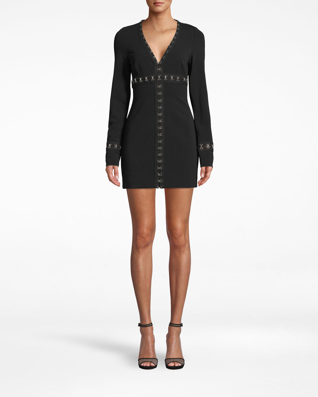 BS20065 - STRUCTURED HEAVY JERSEY MINI DRESS - dresses - short - How to grunge up the LBD. Silver hook and eye closures (resting upon black fabric) line the border of the neckline, move across and back to the bodice, and extend down to the hem. Exposed back zipper for closure.