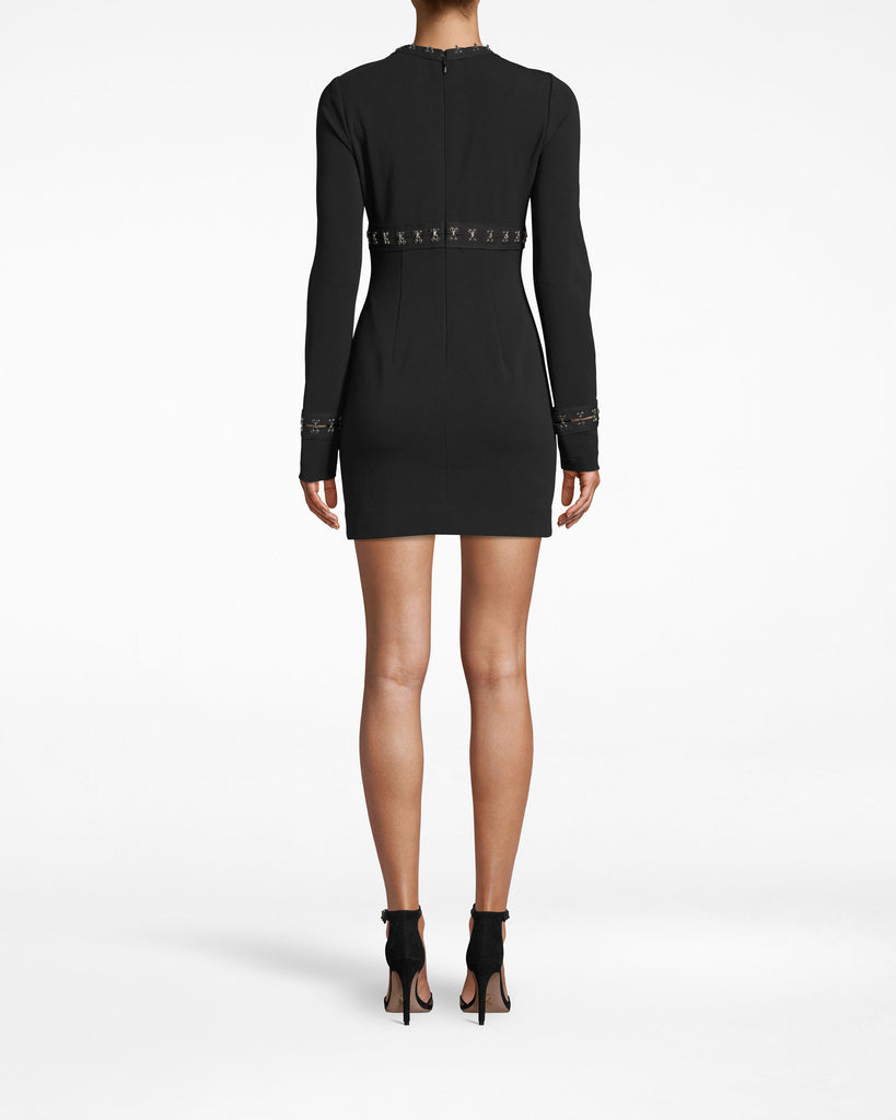 BS20065 - STRUCTURED HEAVY JERSEY MINI DRESS - dresses - short - How to grunge up the LBD. Silver hook and eye closures (resting upon black fabric) line the border of the neckline, move across and back to the bodice, and extend down to the hem. Exposed back zipper for closure. Alternate View
