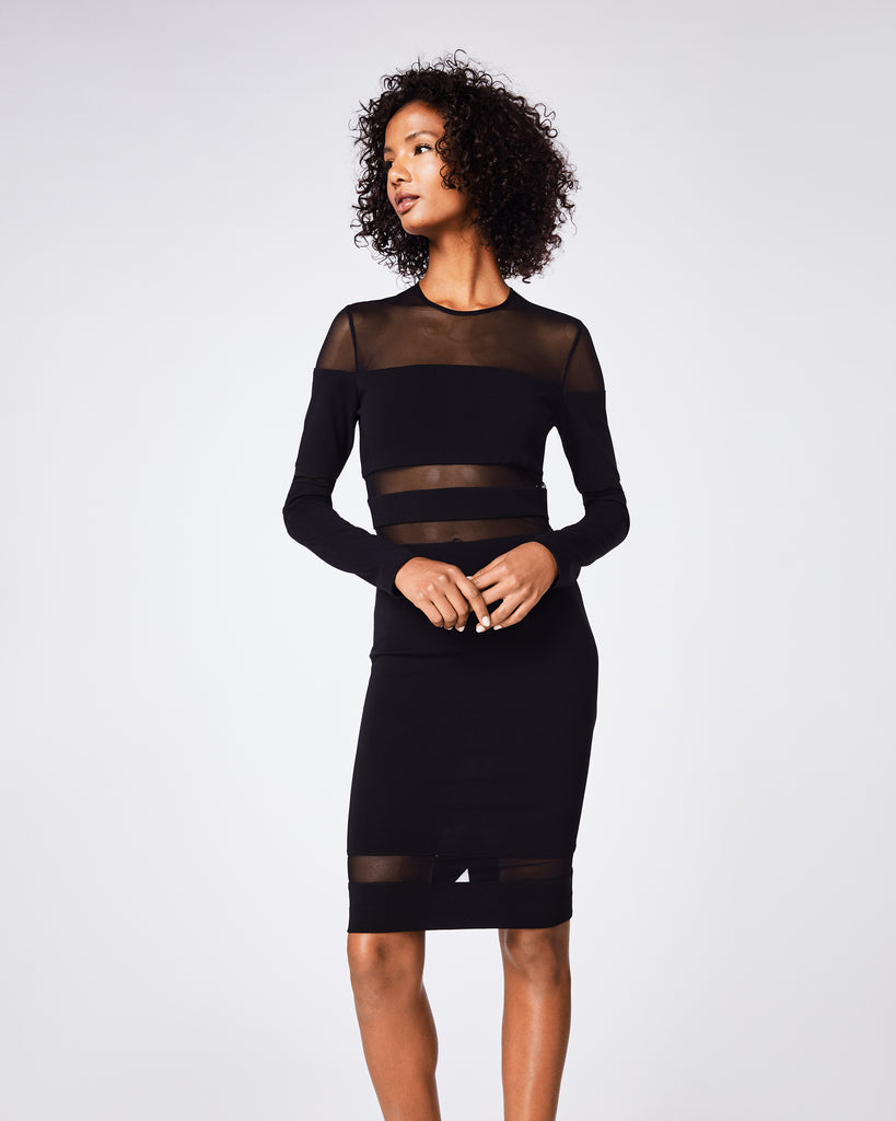 BT10116 - JERSEY MESH COMBO DRESS - dresses - short - This LBD is a wardrobe staple. Its sheer cutouts add a cool and sexy element to this fitted, figure-flattering silhouette. Alternate View
