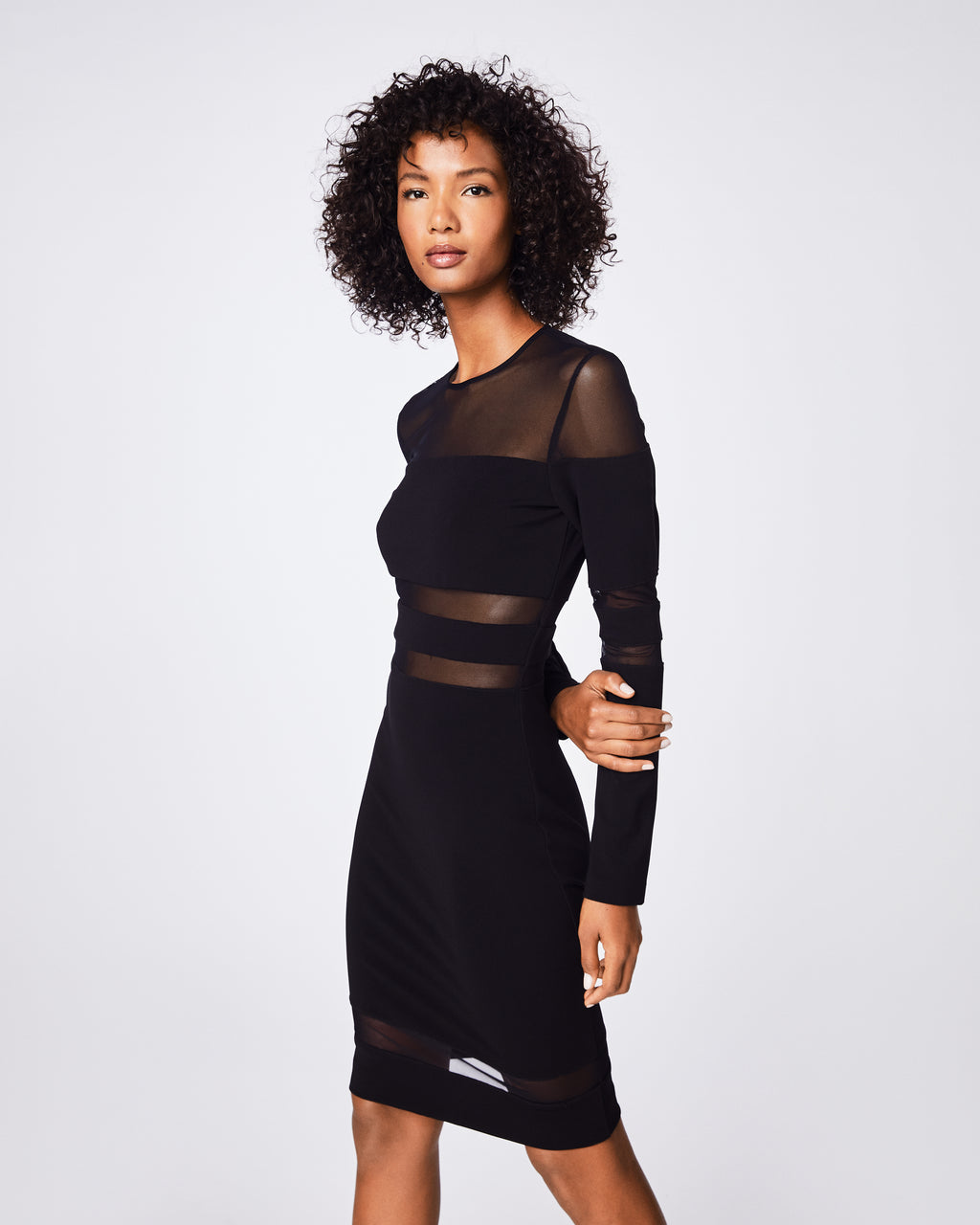 BT10116 - JERSEY MESH COMBO DRESS - dresses - short - This LBD is a wardrobe staple. Its sheer cutouts add a cool and sexy element to this fitted, figure-flattering silhouette.