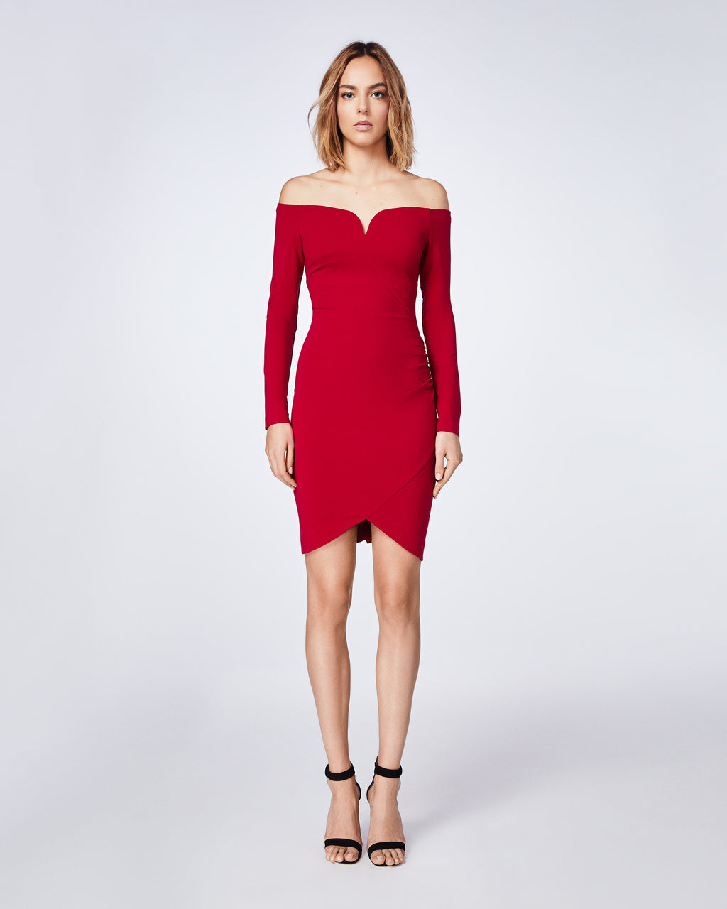BT10117 - JERSEY OFF SHOULDER DRESS - dresses - short - In a fitted off the shoulder silhoutte, this long sleeve dresse features sweetheart neckline. Make a statement with the red dress for holiday party.