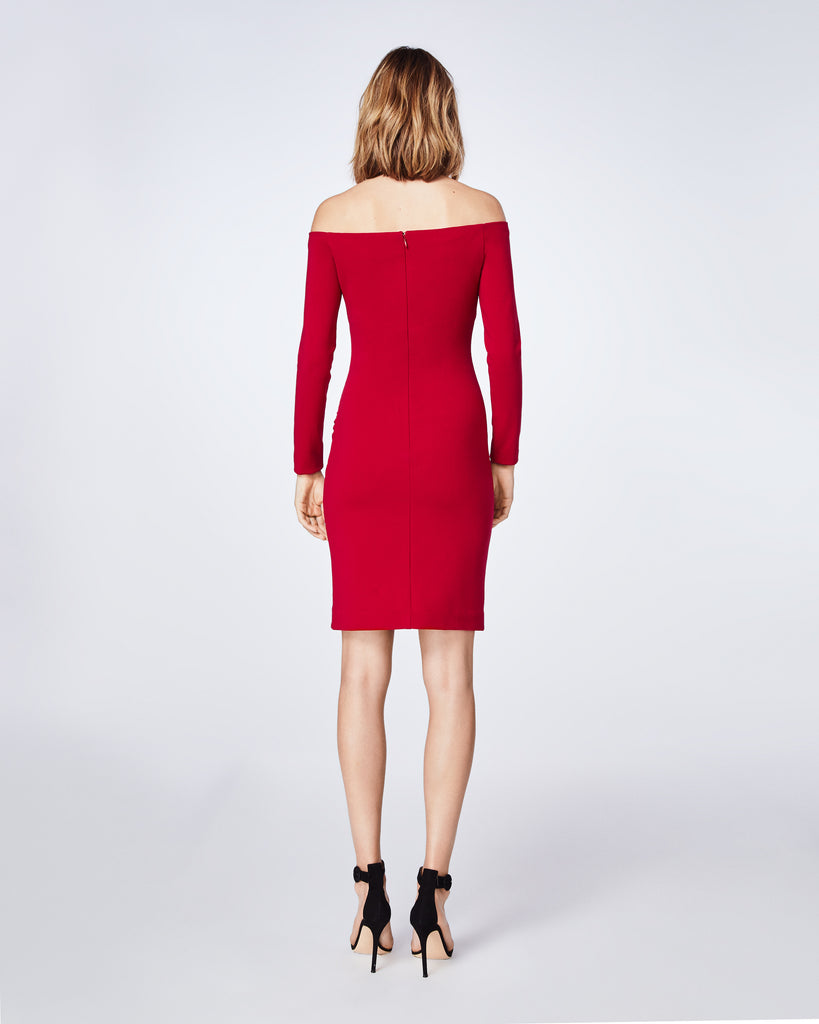 BT10117 - JERSEY OFF SHOULDER DRESS - dresses - short - In a fitted off the shoulder silhoutte, this long sleeve dresse features sweetheart neckline. Make a statement with the red dress for holiday party. Alternate View