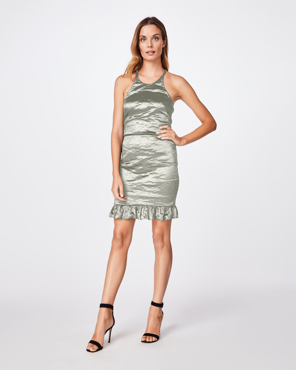 BT10121 - SOLID TECHNO METAL RACERBACK DRESS - dresses - short - This racerback dress comes in our solid techno metal fabric. The ruffle at the bottom adds a feminine touch. Fully lined with concealed back zipper.