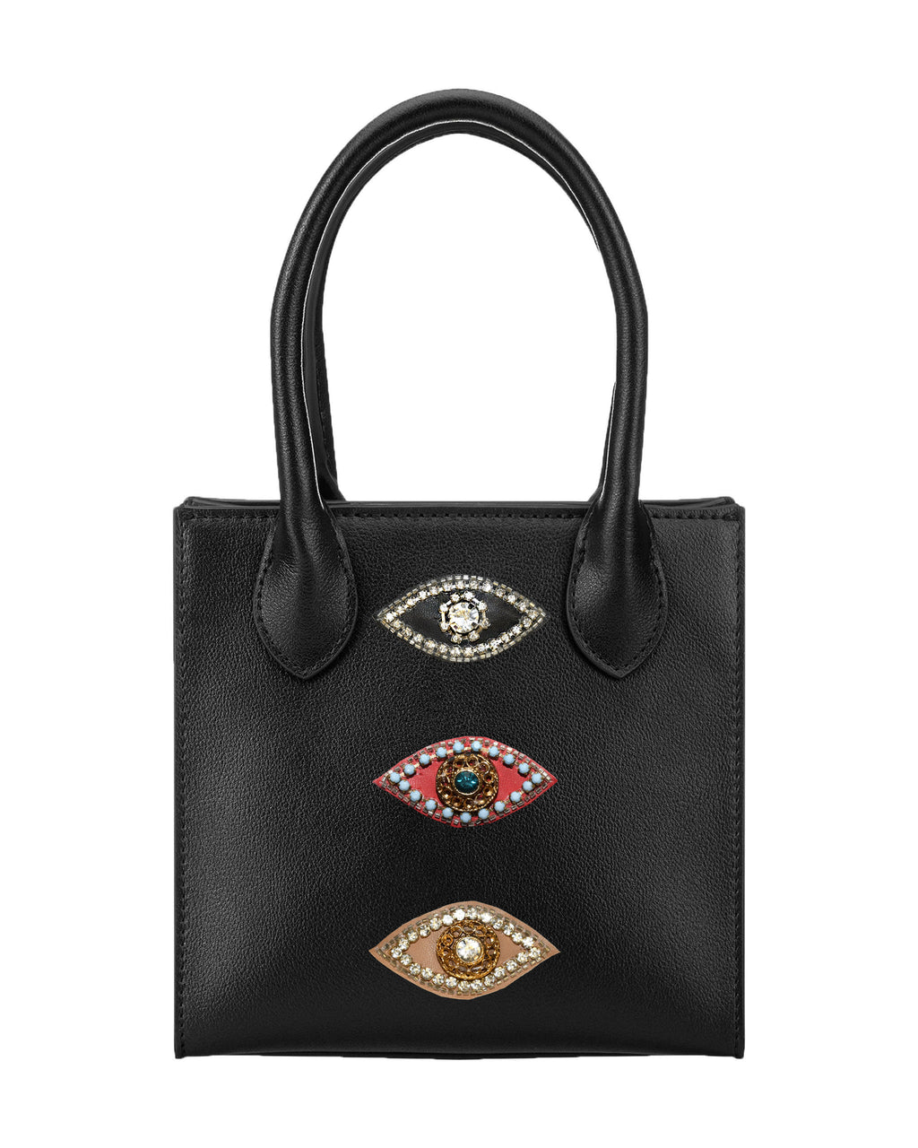 CA00002 - EVIL EYE NIKI MINI HANDBAG - accessories - bags - Made a big statement with our mini bag. Our classic Niki mini bag is updated with our signature jeweled evil eye patches. Feauturing two inside pockets, a removable and adustable strap and hidden magnetic button closure.