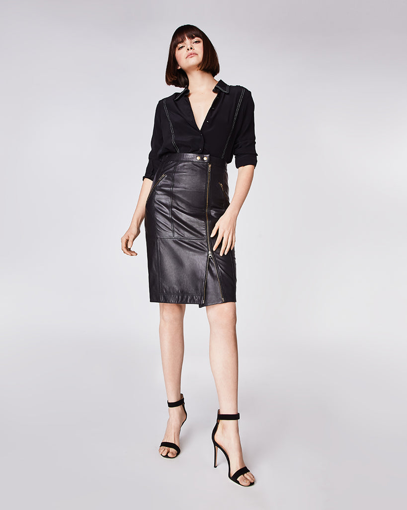 CA10233 - LAMBSKIN LEATHER MOTO SKIRT - bottoms - skirts - The classic pencil skirt, but sexier. In a soft, lambskin leather and crafted with tarnished gold hardware, this form fitting pencil skirt features a full length double zipper and snap buttons for closure. Fully lined.� Alternate View