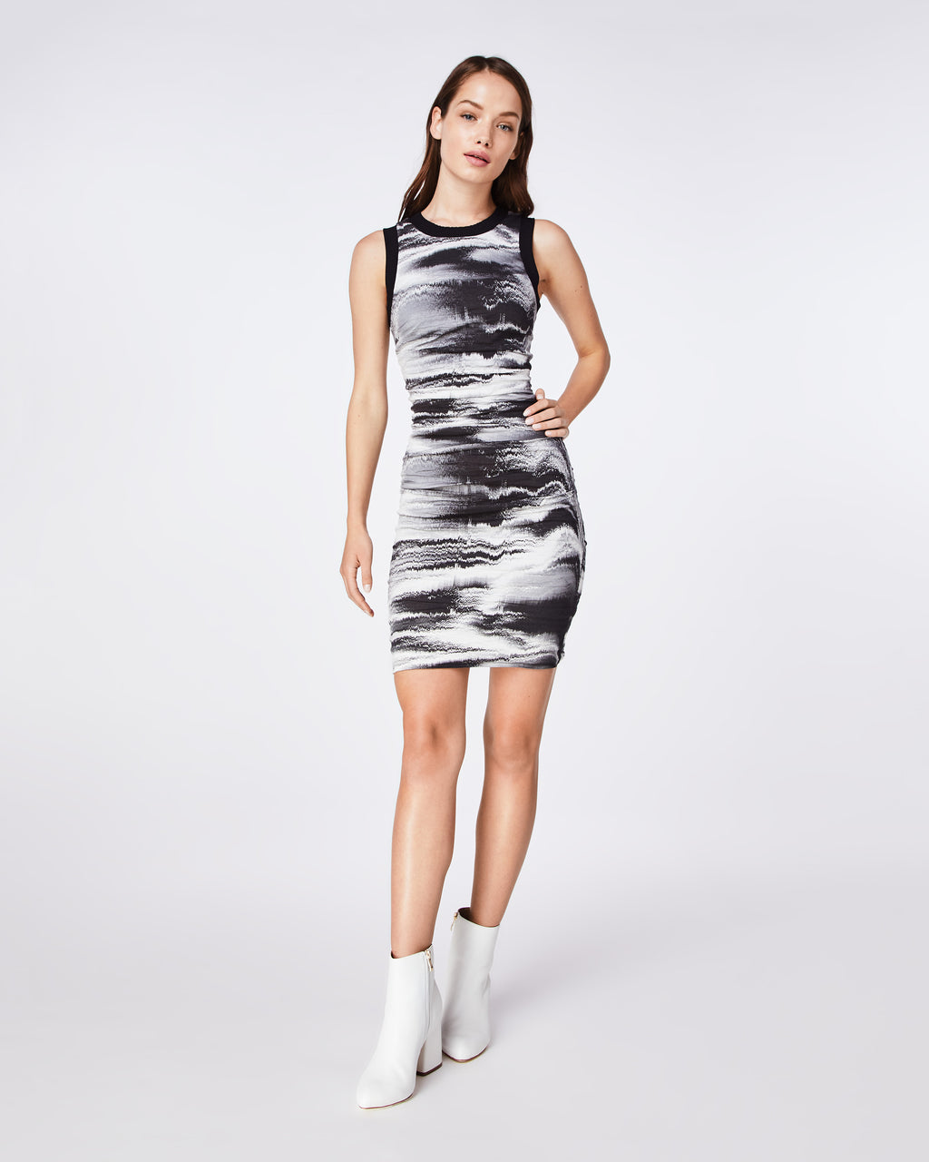 CA10247 - DISTORTED FOG SHEATH DRESS - dresses - short - THIS FITTED, STRAIGHT CUT SLEEVELESS DRESS FEATURES RIBBING ALONG THE NECKLINK AND ARMHOLES.