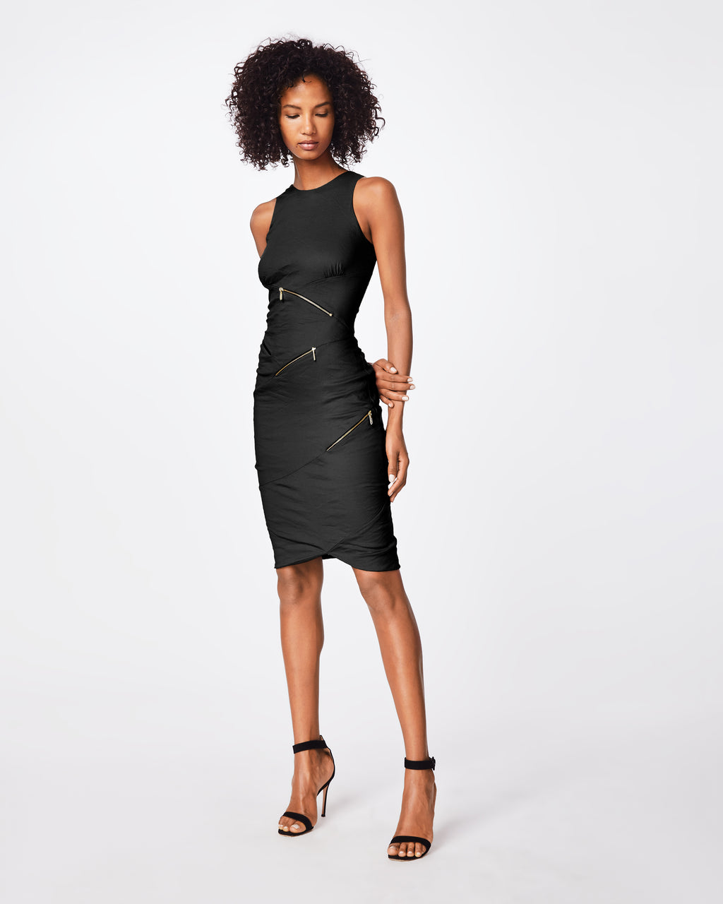 CA10254 - SOLID COTTON METAL ZIPPER DRESS - dresses - short - In our iconic cotton metal, this ruched dress features exposed zippers for a little something extra kind of look. The high neckline and fitted bodice to the knee makes it a flattering fit.