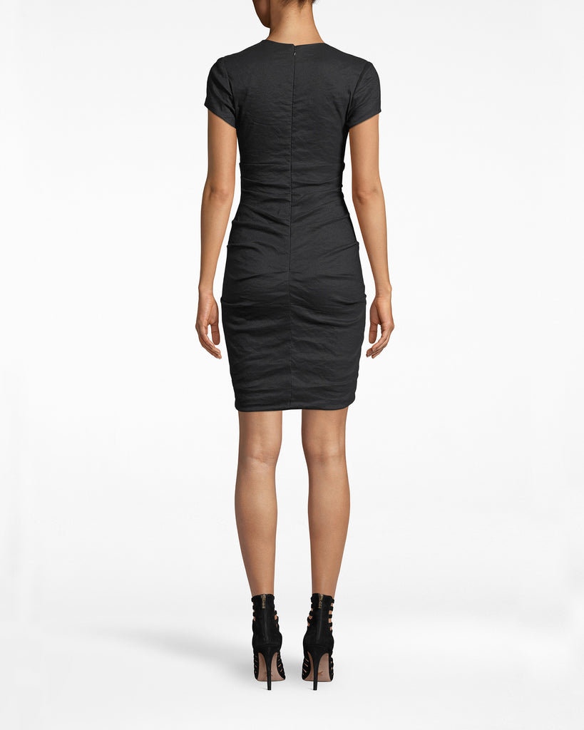 CA10257 - SOLID COTTON METAL D-RING LACE UP CAP SLeeve dress - dresses - short - Double-takes are happening. The sweet cap sleeves on this v-neck dress are contrasted with metal rings cascading down the front. Concealed back zipper for closure. Alternate View