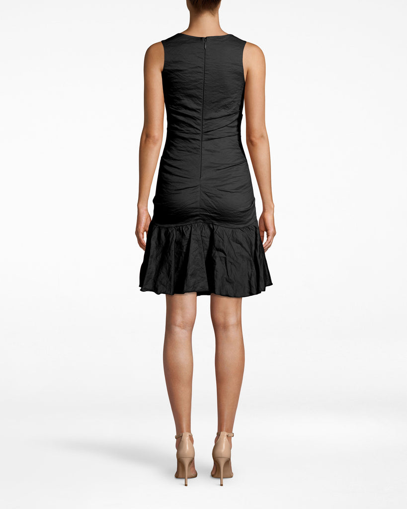 CA10266 - SOLID COTTON METAL SCOOP NECK RUFFLE HEM DRESS - dresses - short - A CLASSIC SILHOUETTE IN OUR SIGNATURE COTTON METAL. THIS SLEEVELESS MINI DRESS HAS A SCOOP NECK AND A RUFFLE HEM THAT HITS JUST ABOVE THE KNEE. PAIRS WELL WITH STATEMENT JEWELRY AND STANDOUT SHOES. FULLY LINED WITH A CONCEALED BACK ZIPPER. Final Sale Alternate View