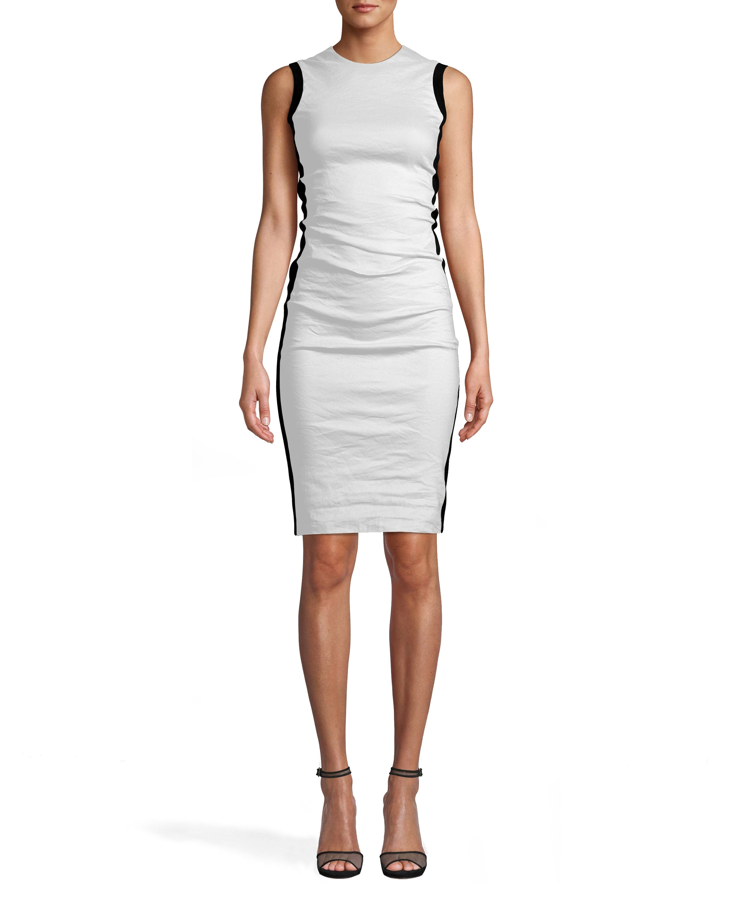 nicole miller cotton metal and ponte combo dress in khaki green | polyester/spandex/elastane | size 0