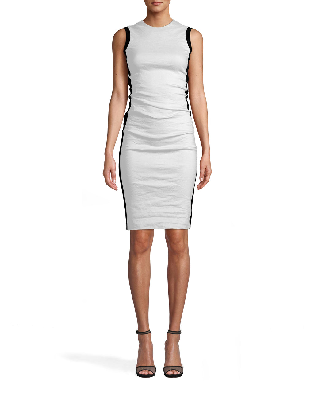 CA10267 - COTTON METAL AND PONTE COMBO DRESS - dresses - short - THIS HIGH NECK STYLE FITS FLAWLESSLY INTO YOUR CLOSET. COTTON METAL AND PONTE FABRICS MAKE THIS BODYCON PIECE ULTRA COMFORTABLE AND SKIMMING. DRESS IT UP OR DOWN DEPENDING ON THE OCCASION. CONCEALED ZIPPER FOR CLOSURE.