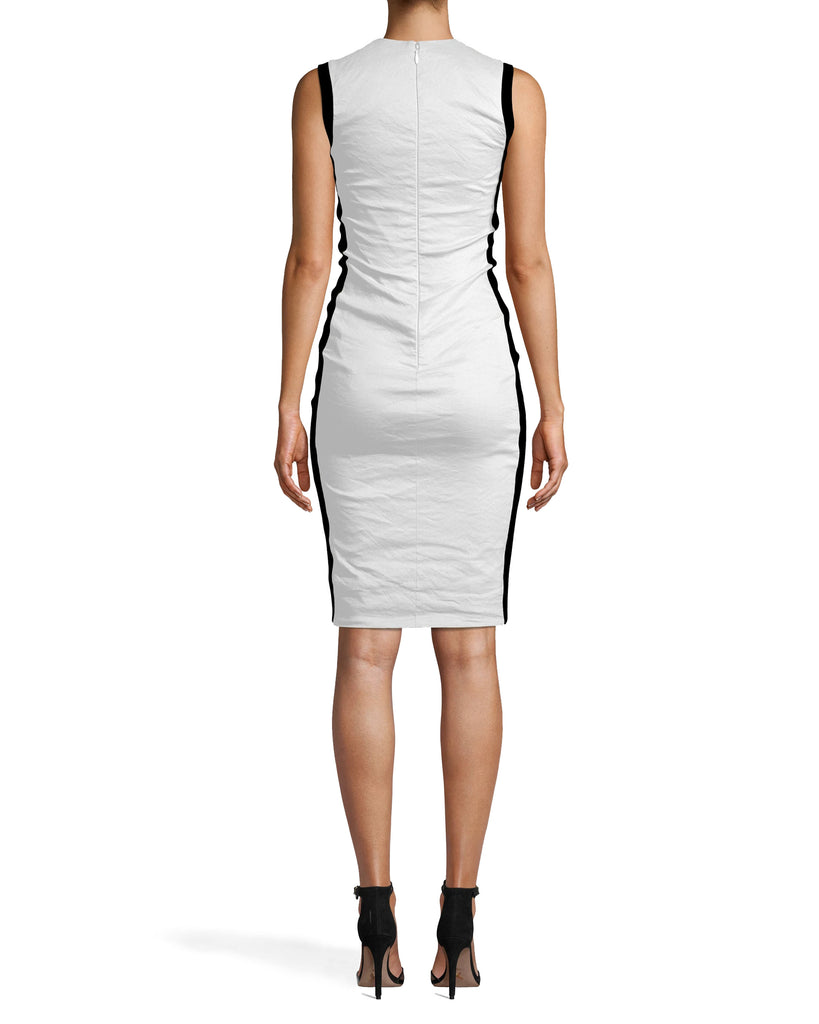 CA10267 - COTTON METAL AND PONTE COMBO DRESS - dresses - short - THIS HIGH NECK STYLE FITS FLAWLESSLY INTO YOUR CLOSET. COTTON METAL AND PONTE FABRICS MAKE THIS BODYCON PIECE ULTRA COMFORTABLE AND SKIMMING. DRESS IT UP OR DOWN DEPENDING ON THE OCCASION. CONCEALED ZIPPER FOR CLOSURE. Alternate View
