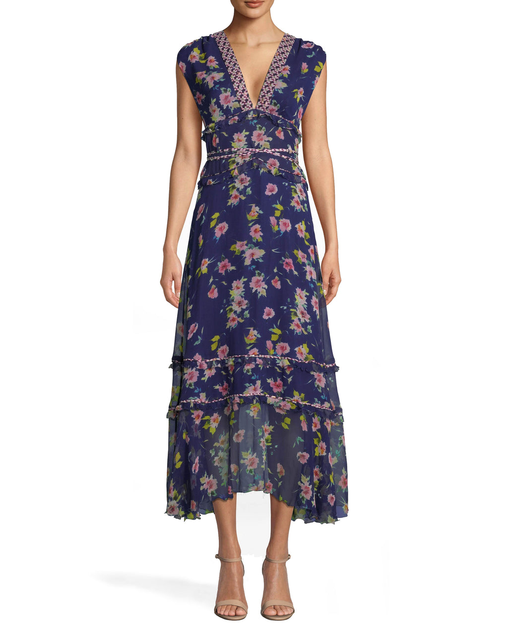 CA10271 - COSMO FLORA MIDI DRESS - dresses - midi - A LITTLE BIT OF FLORA. THIS MIDI DRESS IS A TRUE STUNNER. FUN FLORALS COVER THE BODY AND THE HEM HITS JUST ABOVE THE ANKLE. FEATURING A SHIMMERY TIE WAIST AND THICK STRAPS. PAIR WITH NUDE HEELS FOR A COMPLETE LOOK. Final Sale