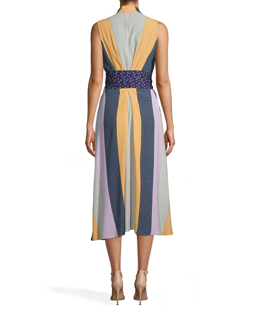 CA10274 - POP STRIPE HIGH LOW DRESS - dresses - midi - ADD A POP OF COLOR TO YOUR WARDROBE WITH THIS STATEMENT ESSENTIAL. THICK STRAPS AND A PATTERNED SASH CINCH AND FLATTER THE WAIST, WHILE THE SKIRT DRAPES HIGH-LOW. Final Sale Alternate View