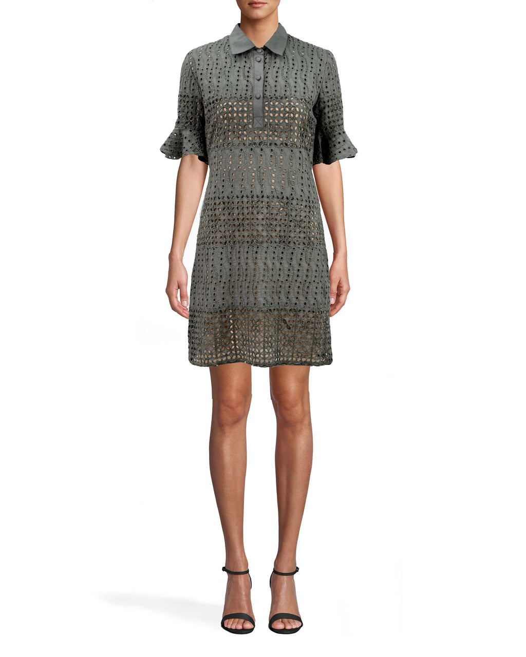 CA10278 - BEADED EYELET BELL SLEEVE SHIRT DRESS - dresses - short - THIS EYELET MINI DRESS FEATURES STATEMENT BELL SLEEVES, A CHIC COLLAR AND BEADING THROUGHOUT. NUDE SLIP UNDERNEATH. Add 1 line break STYLIST TIP: WEAR WITH STRAPPY SANDALS AND A SET OF GOLD BRACELETS.
