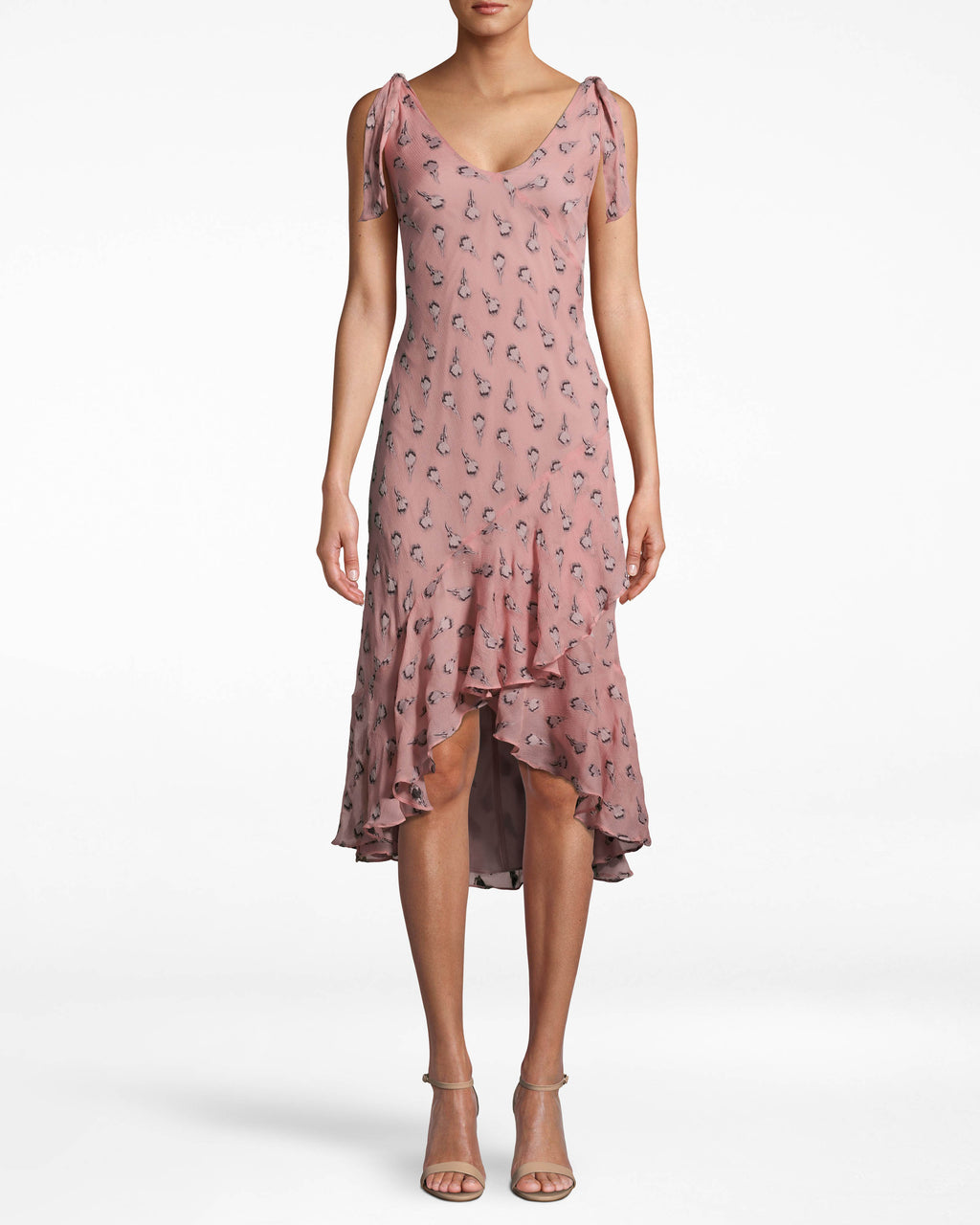 CA10279 - CLIPPED ROSE ASYMMETRICAL RUFFLE TIE DRESS - dresses - midi - THIS STATEMENT DRESS HAS A FLIRTY ASYMMETRICAL HEM WITH RUFFLE DETAIL AND HAS A HIGH LOW SILHOUETTE. THIS BRA FRIENDLY STYLE HAS A SLIGHT V-NECK WITH TIE STRAPS. Add 1 line break STYLIST TIP: WEAR WITH NUDE SHOES AND SPARKLY GOLD EARRINGS.