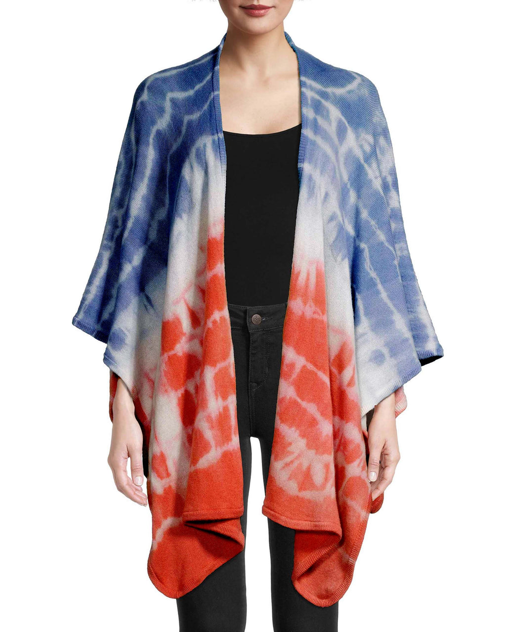 CA18685 - TIE DYE CASHMERE PONCHO - tops - knitwear - The perfect accessory for a chilly vacation night. Crafted from 100% cashmere, this super soft wrap is perfect for layering over any of the other pieces from our resort 2020 collection. Add 1 line break Stylist Tip: Pair with an all white ensemble for a standout look.