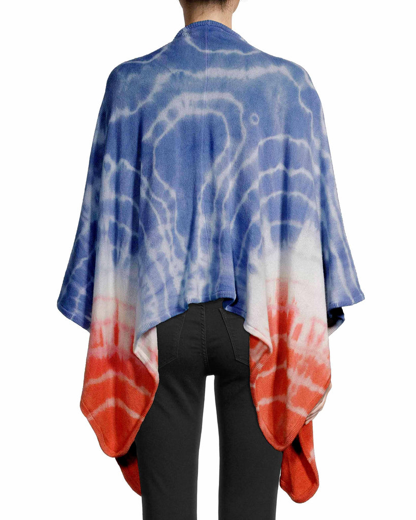 CA18685 - TIE DYE CASHMERE PONCHO - tops - knitwear - The perfect accessory for a chilly vacation night. Crafted from 100% cashmere, this super soft wrap is perfect for layering over any of the other pieces from our resort 2020 collection. Add 1 line break Stylist Tip: Pair with an all white ensemble for a standout look. Alternate View