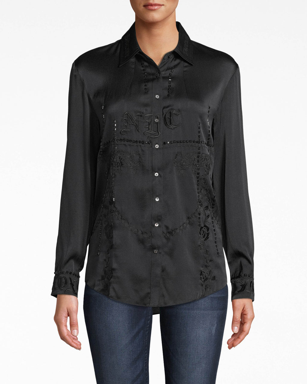 CA20072 - STRETCH CHARMEUSE EMBROIDERED BOYFRIEND SHIRT - tops - shirts - Grab this stretch charmeuse boyfriend shirt and go. Look twice and you'll catch the intricate beading and embroidery.