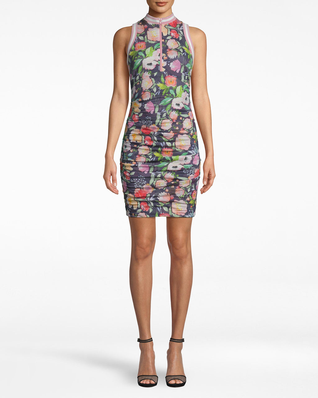 CB20115 - WATERCOLOR FLORAL ZIP FRONT DRESS - dresses - short - NOT MANY DRESSES CAN BE WORN TO DINNER AND ON THE GOLF COURSE. WITH A CHUNKY ZIP FRONT AND PINK RIBBED DETAILS, THIS FLORAL DRESS IS ULTRA FEMININE WITH A SPORTY TWIST. THE RUCHING IS AN ADDED ACCENT, HIGHLIGHTING THE SILHOUETTE.