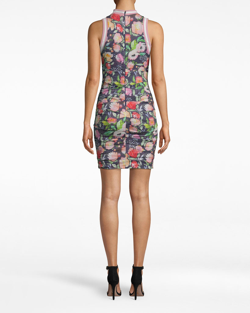 CB20115 - WATERCOLOR FLORAL ZIP FRONT DRESS - dresses - short - NOT MANY DRESSES CAN BE WORN TO DINNER AND ON THE GOLF COURSE. WITH A CHUNKY ZIP FRONT AND PINK RIBBED DETAILS, THIS FLORAL DRESS IS ULTRA FEMININE WITH A SPORTY TWIST. THE RUCHING IS AN ADDED ACCENT, HIGHLIGHTING THE SILHOUETTE. Alternate View